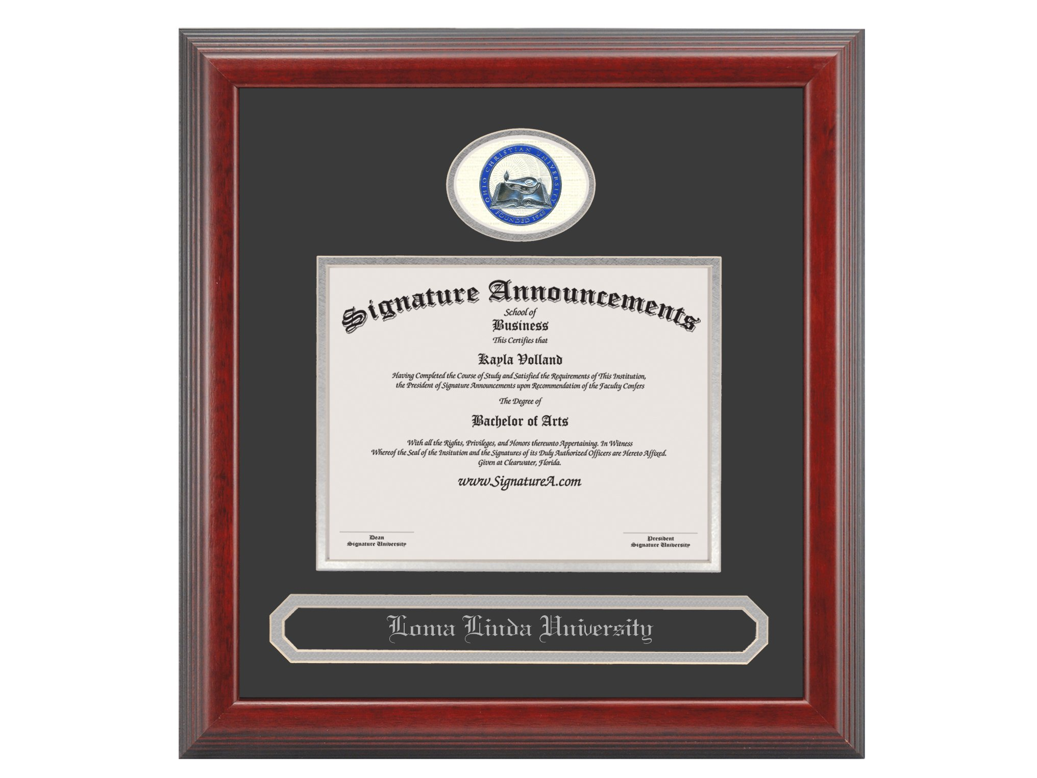 Signature Announcements Ohio-Christian-University Undergraduate, Graduate/Professional/Doctor Sculpted Foil Seal & Name Diploma Frame, 16'' x 16'', Cherry