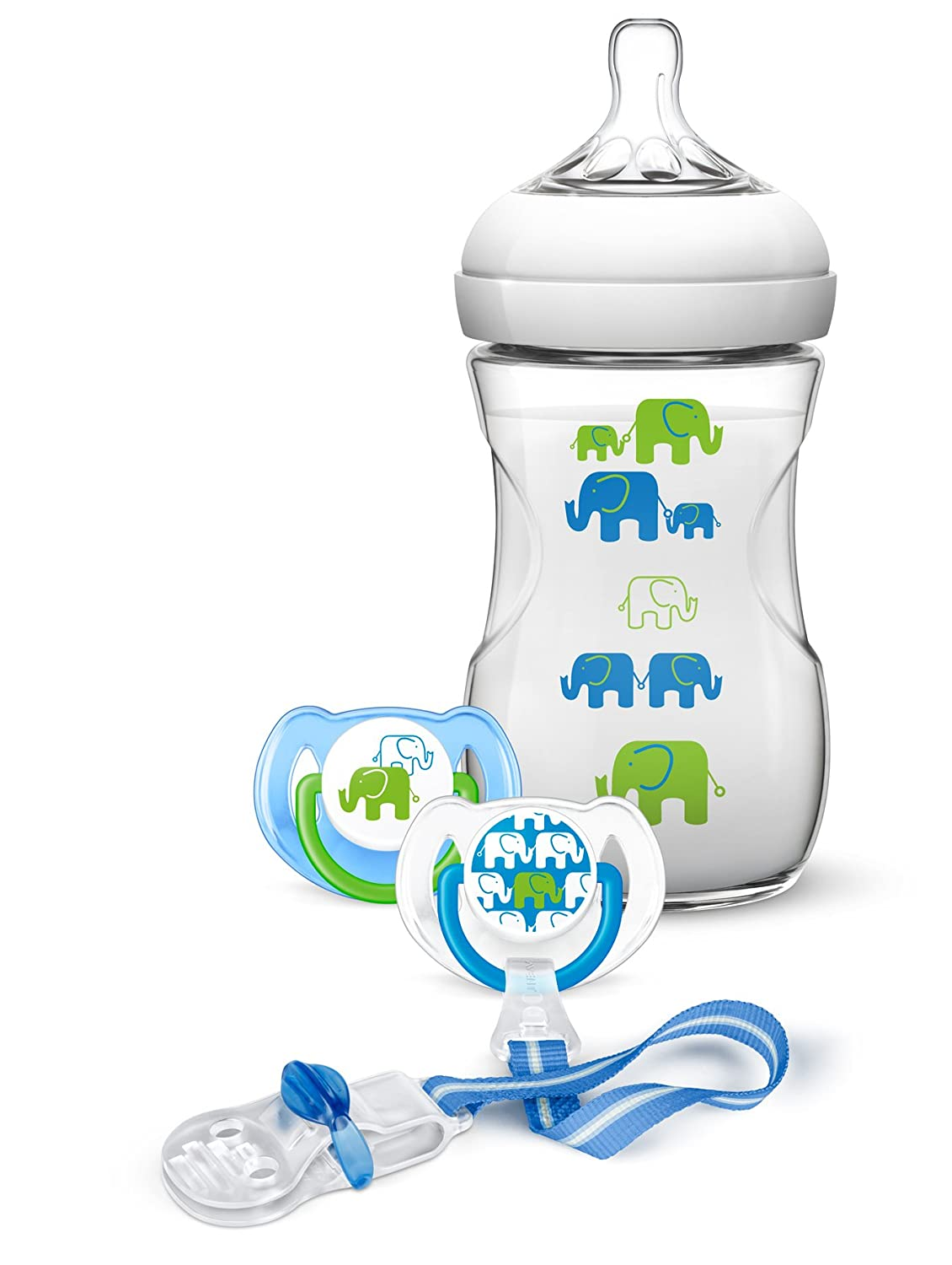 Philips Avent–Gift Set, with 1Natural Baby Bottle 260ml, 2Soothers for 6–18Months, 1Pacifier Clip Blue Elephants Philips Avent-Gift Set SCD627/01