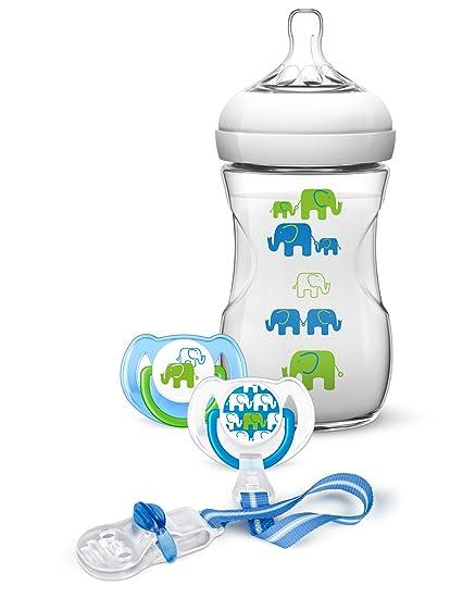 Philips Avent SCD627/01 - Set de regalo para niño con 1 biberón natural 260 ml, 2 chupetes para 6-18 meses, 1 clip para chupete
