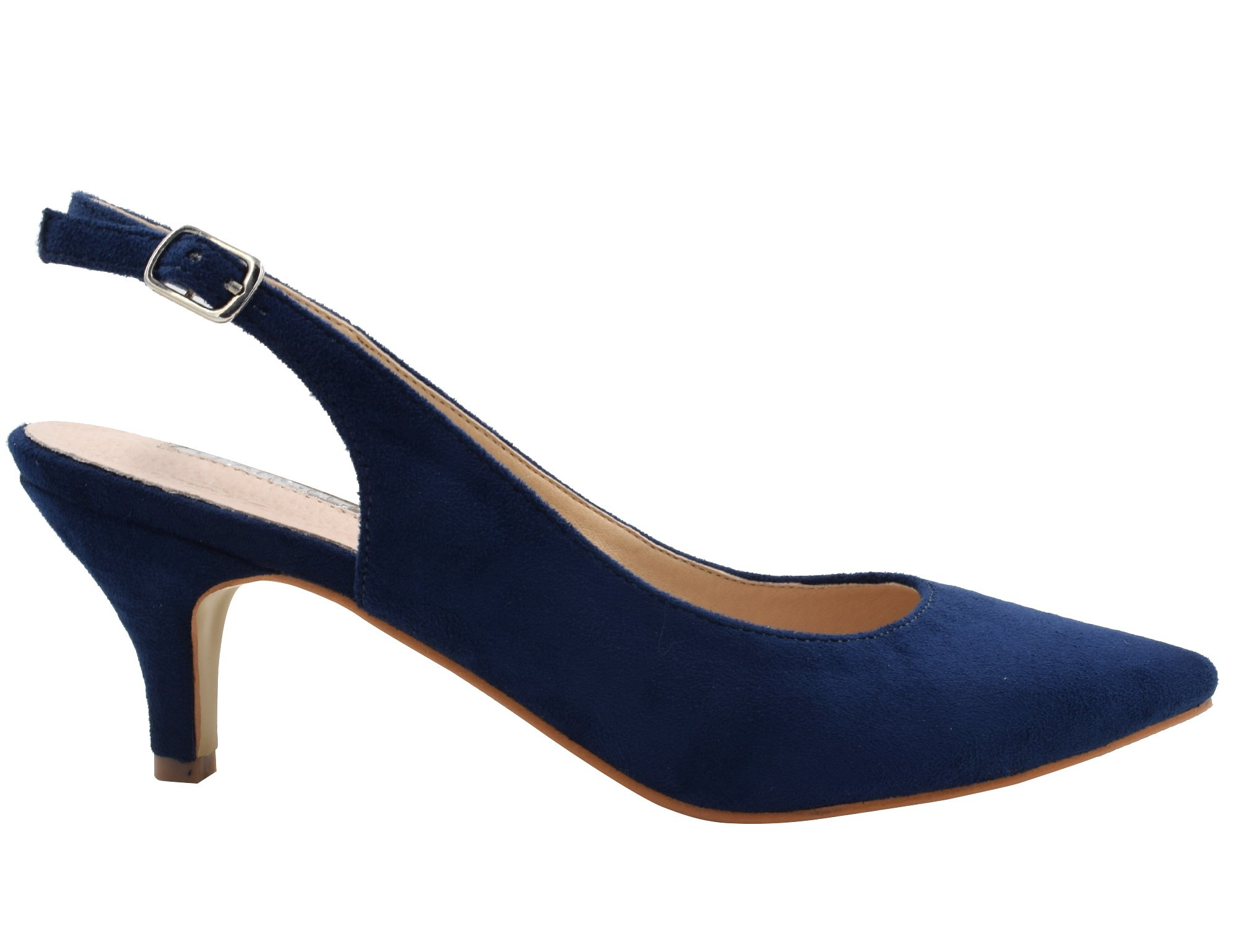 Greatonu Womens Blue Formal Classic Kitten Heels Pumps Shoes Size 9 by Greatonu (Image #2)