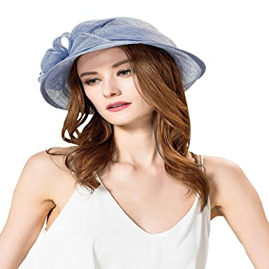 fa96e7e26ca Maitose Women s Cambric Flowers Church Bowler Hats Blue at Amazon ...