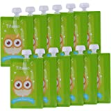 12 Pack 7 oz Owl Reusable Baby Food Squeeze Storage Pouches for Homemade Organic Baby, Toddlers, Kids Food - Easy to…