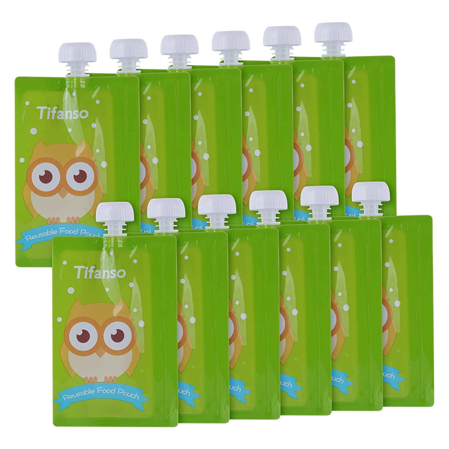 12 Pack 7 oz Owl Reusable Baby Food Squeeze Storage Pouches for Homemade Organic Baby, Toddlers, Kids Food - Easy to Fill & Clean with Leak Proof Double Zipper Refillable Pouch Plus a Flower Funnel