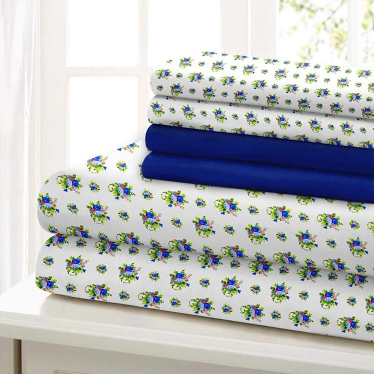 Traditional Home Sheet Set Cotton Percale 6 Piece Print Twin Full Queen King Soft (Blue Green Flower, King)