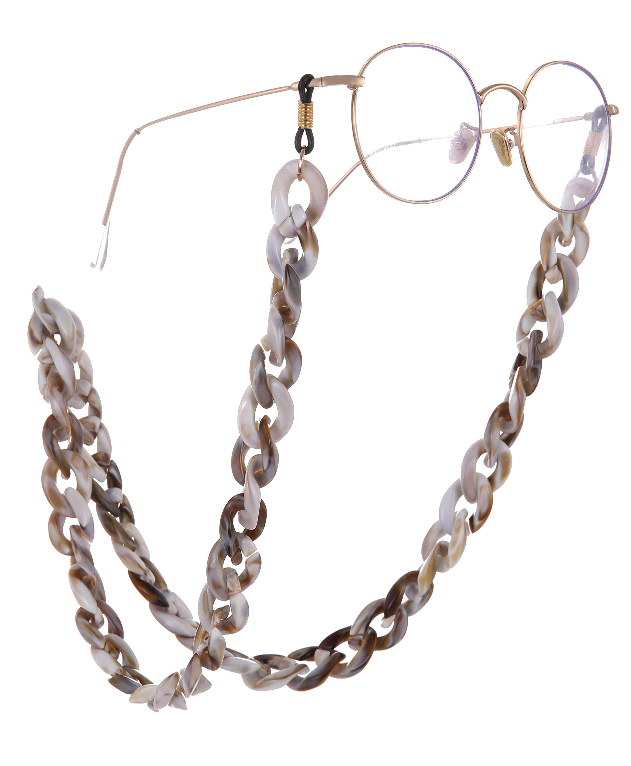EUEAVAN Fashion Twist Link Acrylic Eyeglass Chain Marble Texture Sunglasses Holder Eyewear Retainer Strap for Women (Coffee Color) by EUEAVAN