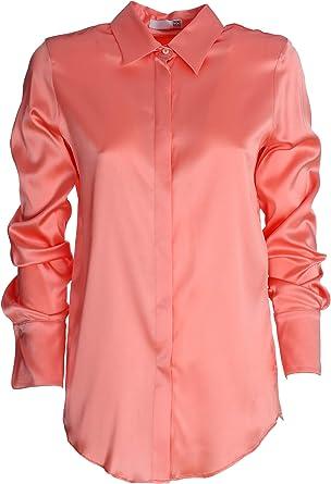 Dou Dou - Camisa rosa, modelo Alice, satén de seda, manga ...