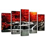 Amazon Price History for:Hua Dao Art-HJ-0313 canvas prints 5 Piece Wall Art Home Decoration Painting Printed on canvas Red Waterfall (Red)