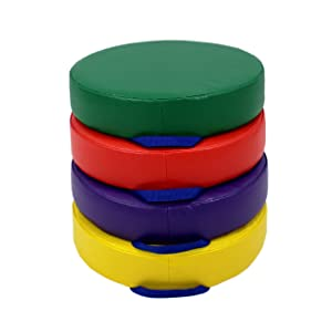 FDP 15 inch Round Floor Cushions with Handles for Kids; Flexible Seating for in-Home Distance Learning, Classroom, Preschool, Daycare, 3 inch Thick Durable Foam, Easy to Clean (4-Piece) - Assorted