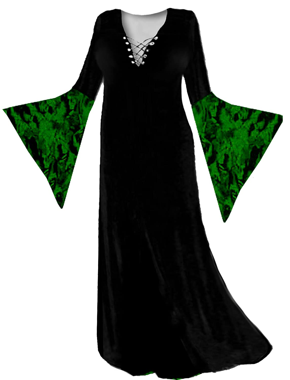 amazoncom womens green witch velvet plus size supersize halloween costume deluxe kit w wig clothing - Green Halloween Dress