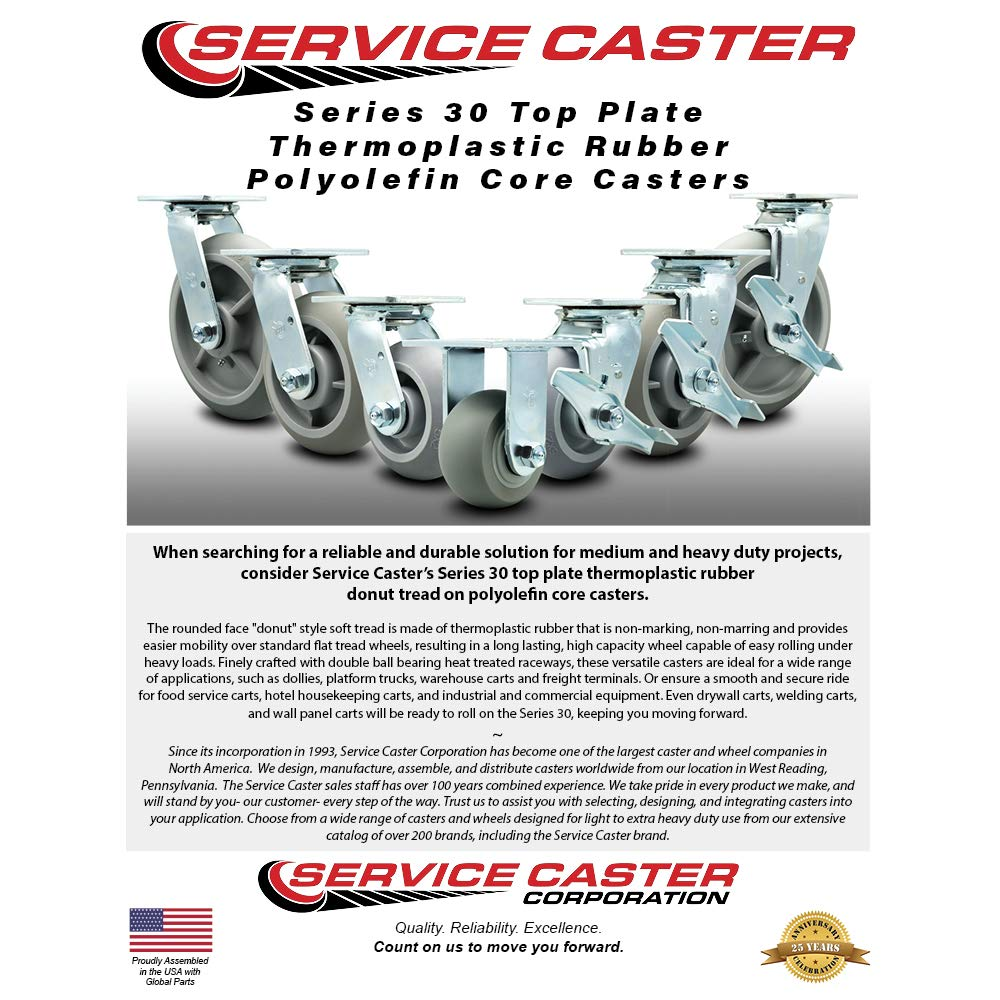8 x 2 Thermoplastic Rubber Wheel Caster Set of 4-2 Swivel Casters w//Brakes//2 Rigid Service Caster