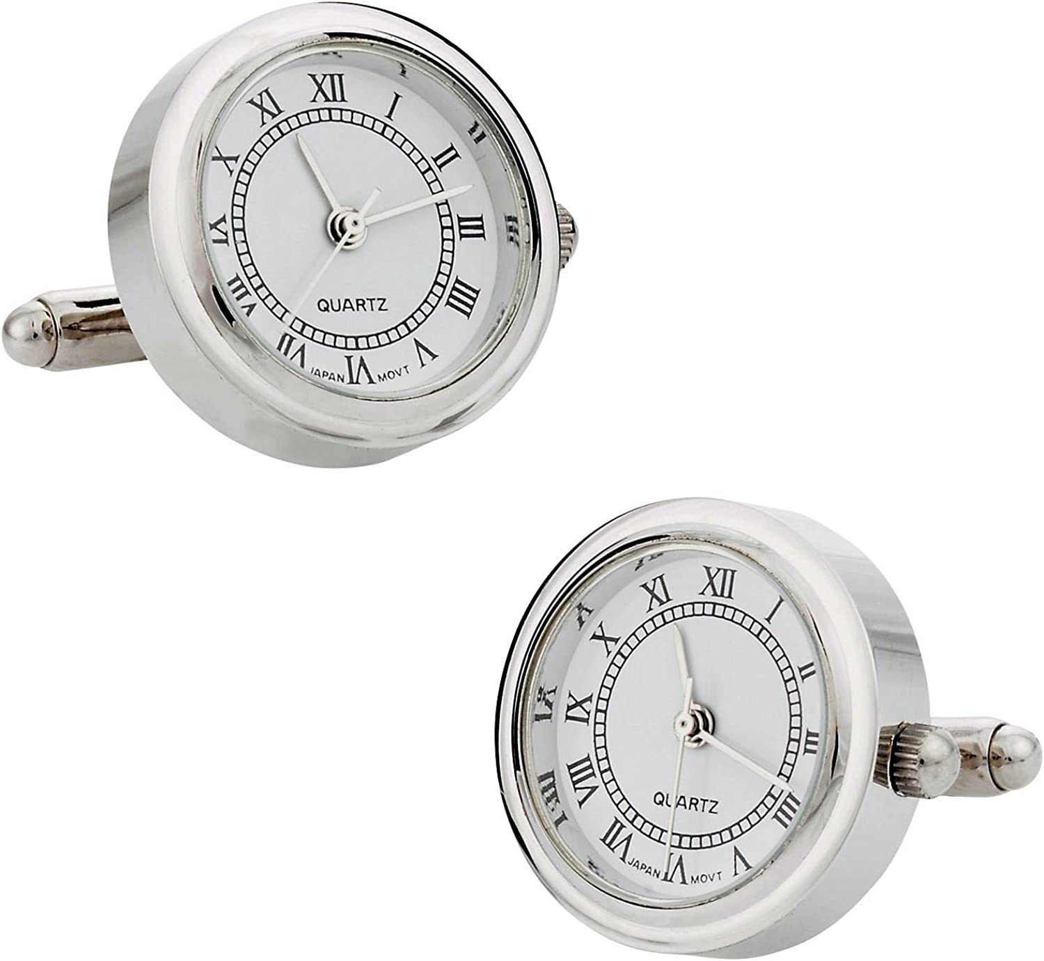 Round Silver Working Functional Watch Cufflinks with Presentation Box Gift Idea for Him