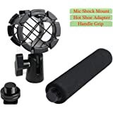 Eggsnow Microphone Shock Mount Clip Universal Mic Holder Stand + Hot Shoe Adapter +Foam Handle Grip Anti Vibration for AKG D230/Senheisser ME66/Rode NTG-2/NTG-1/Audio-Technica AT-875R