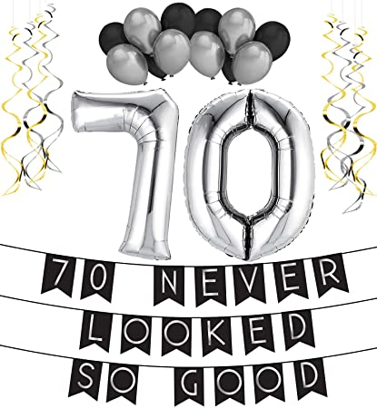 70 Never Looked So Good Birthday Party Pack Black Silver Happy Bunting