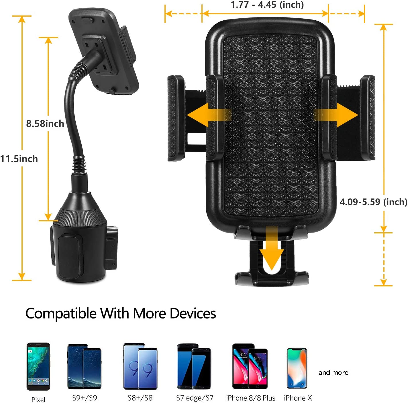 LUXMO Car Cup Holder Phone Mount Adjustable Cup Phone Holder Cradle Car Mount for Cell Phone iPhone Xs XR Xs Max X 8 7 Plus Galaxy S9 S8 S7 Upgrade Car Phone Cupholder Mount