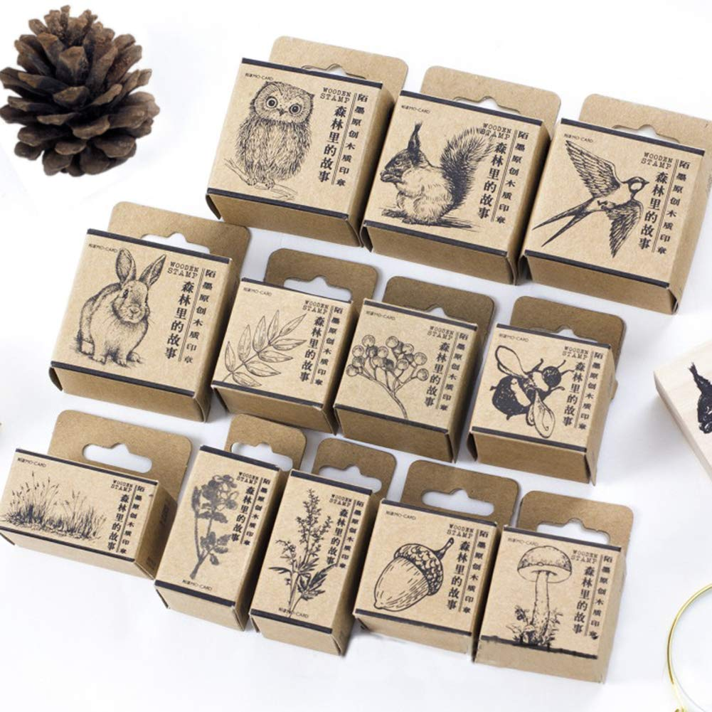 12pcs Wooden Rubber Stamps Animals and Plants Patterns Stamps Set for DIY Craft Card Scrapbooking Supplies by Co-link (Image #1)
