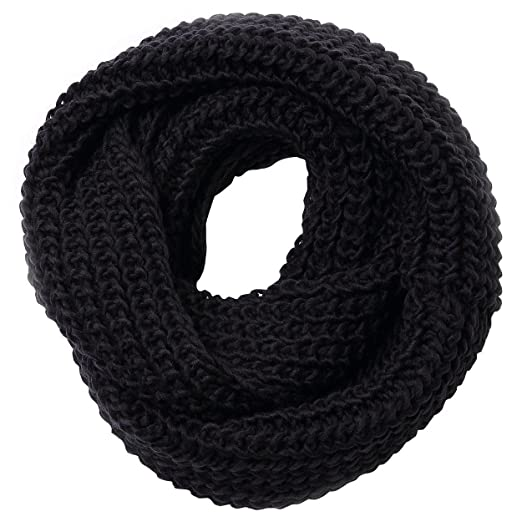3d83de4bf Jemis Women' s Super Soft Winter Knit Warm Infinity Scarf (Free Size, Black