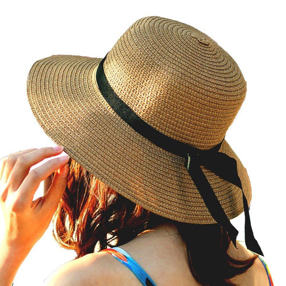 Lightcyan AIJIA Women's Sun Hat Foldable Large Wide Brim Straw Hat Summer Beach Cap UV Predection 2222.8in