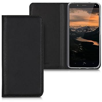 kwmobile Funda compatible con bq Aquaris U2 / U2 Lite - Carcasa para móvil de [cuero sintético] - Case en [negro]