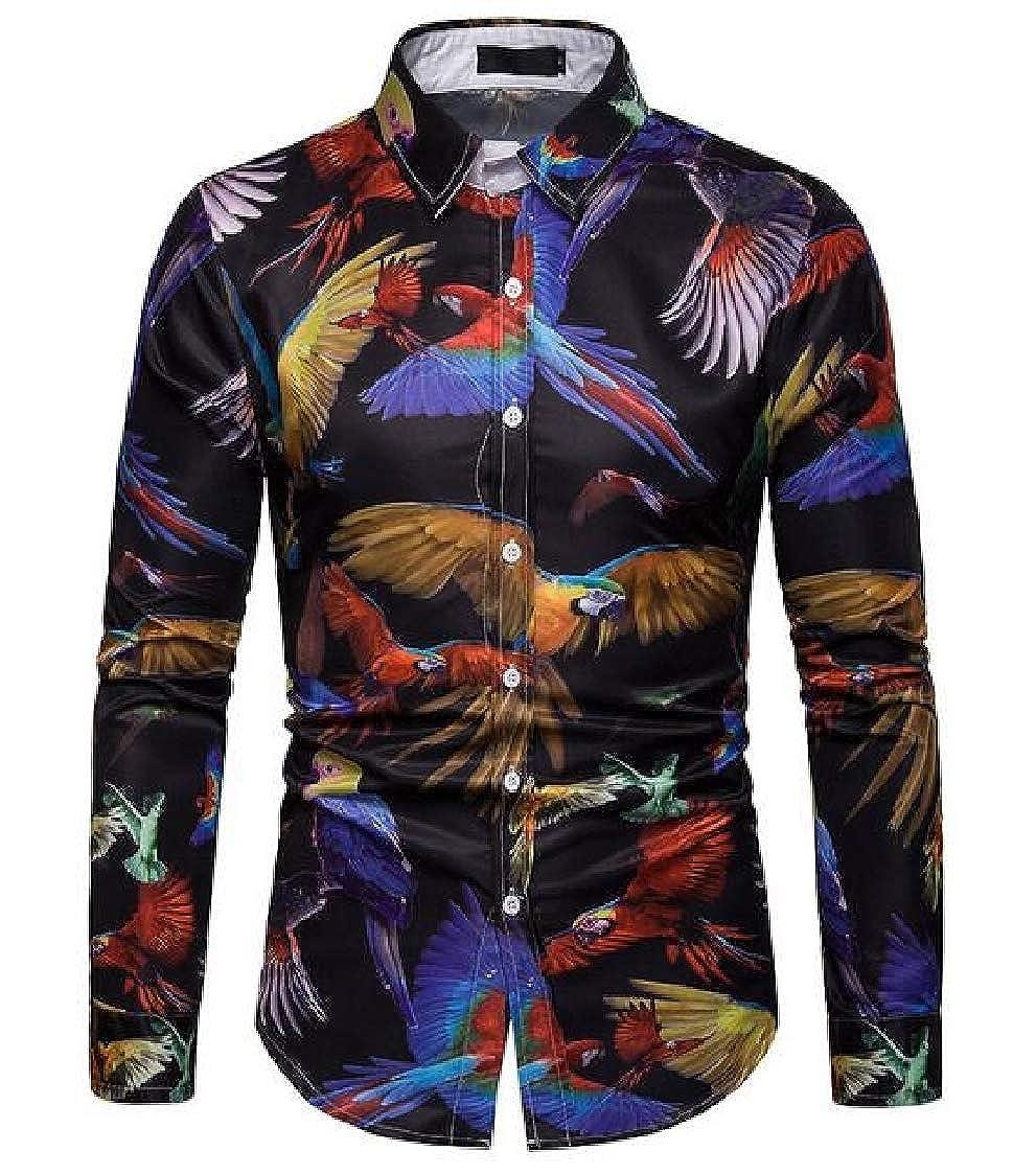 Nanquan Men Stylish Long Sleeve Casual Print Fashion Button up Dress Shirts