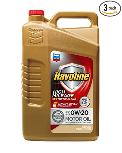Havoline 254642485 0W20 High Mileage Synthetic Blend, 5 quart, 3 Pack