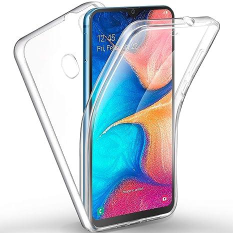 AROYI Funda Samsung Galaxy A20, Ultra Slim Doble Cara Carcasa Protector Transparente TPU Silicona + PC Dura Resistente Anti-Arañazos Protectora Case ...