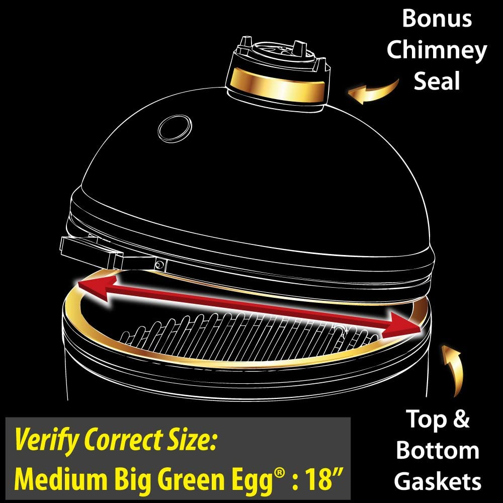 2yr Warranty Gold Standard High Heat Gasket with Adhesive for Medium//Small//Mini Big Green Egg with Kevlar and Nomex