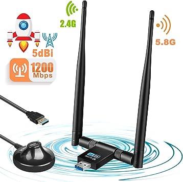 Letmetry WiFi USB Adaptador,1200Mbps WiFi Antena Dual Band (5GHz 433Mbps / 2.4GHz 150Mbps),USB 3.0 WiFi Adaptador con Antena de 5dBi Receptor Soporte ...