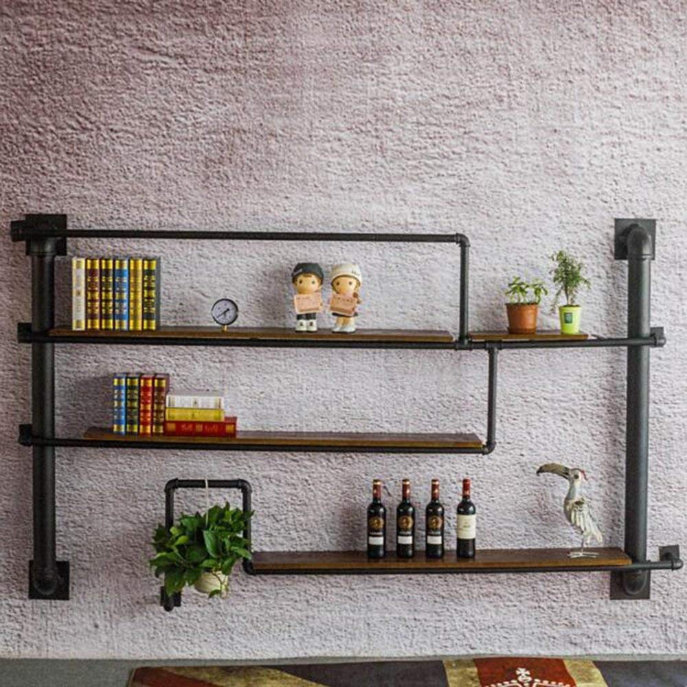 YUEQISONG 3 Layers Shelves Wall Decoration Wine Rack Industrial Water Pipe Shelf