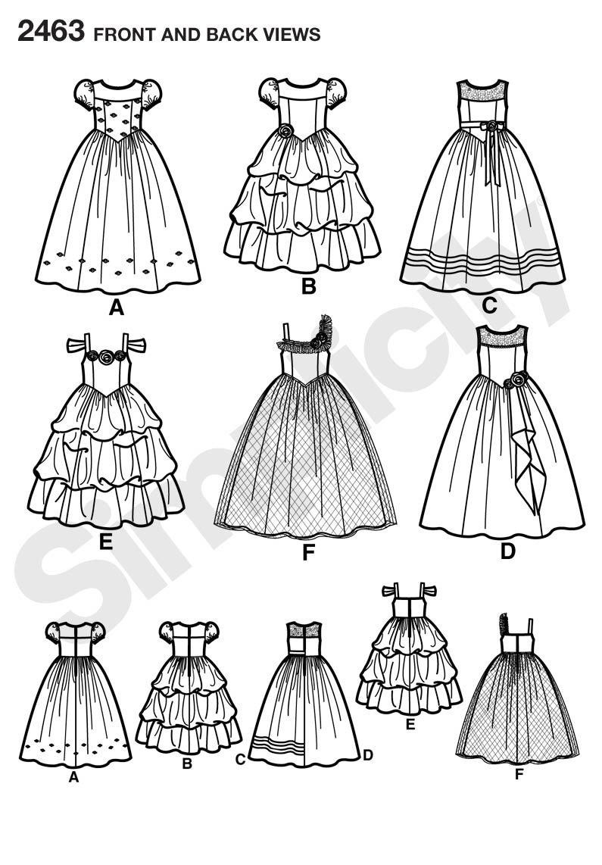 Simplicity 2463 AA - Patrones de costura para disfraces de niña (tallas 5 a 8): Amazon.es: Hogar