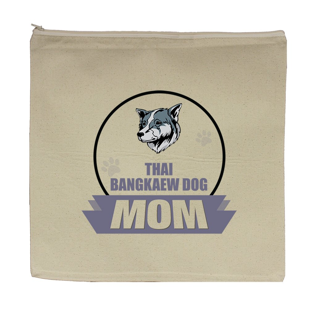 Canvas Zipper Pouch Tote Bag 5.5''X7.5'' Mom Thai Bangkaew Dogdog Style In Print by Style in Print