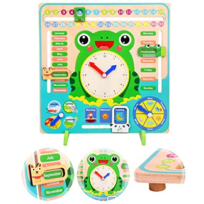 Coxeer Kids Learning Board 7 in 1 Calendar Weather Clock Season Time Cognition Educational Toy: Kitchen & Dining