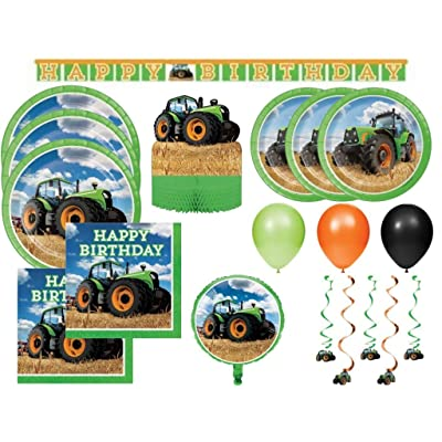 Tractor Time Farming Deluxe Boys Birthday Party Supplies Kit for 24, 100 Pcs: Toys & Games
