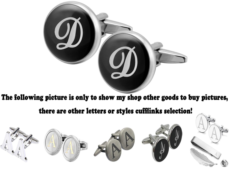 GGemony Men's Shirt Cufflinks 2PCS,Premium Quality Personalized Alphabet Letter A-Z (D-Black/)