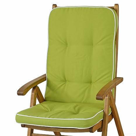 Sun Garden Tomiro 50077-211 - Cojines para sillas con respaldo alto (6 unidades), color verde y blanco