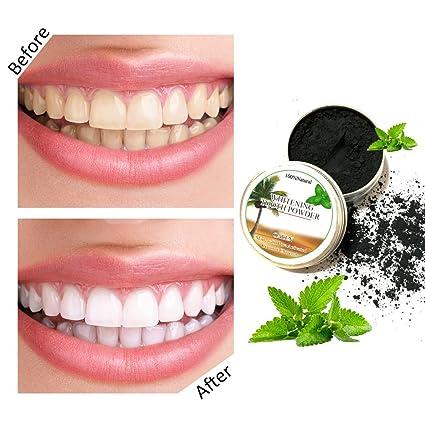 Polvo blanqueador de dientes,Blanqueador Dental de Carbón Activado Blanqueamiento de dientes,Carbón Activado