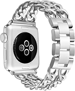 Secbolt Stainless Steel Bands Compatible Apple Watch 38mm 40mm iWatch Series 5, Series 4, Series 3, Series 2, Series 1, Sport, Edition, Chain Replacement Strap Wristband