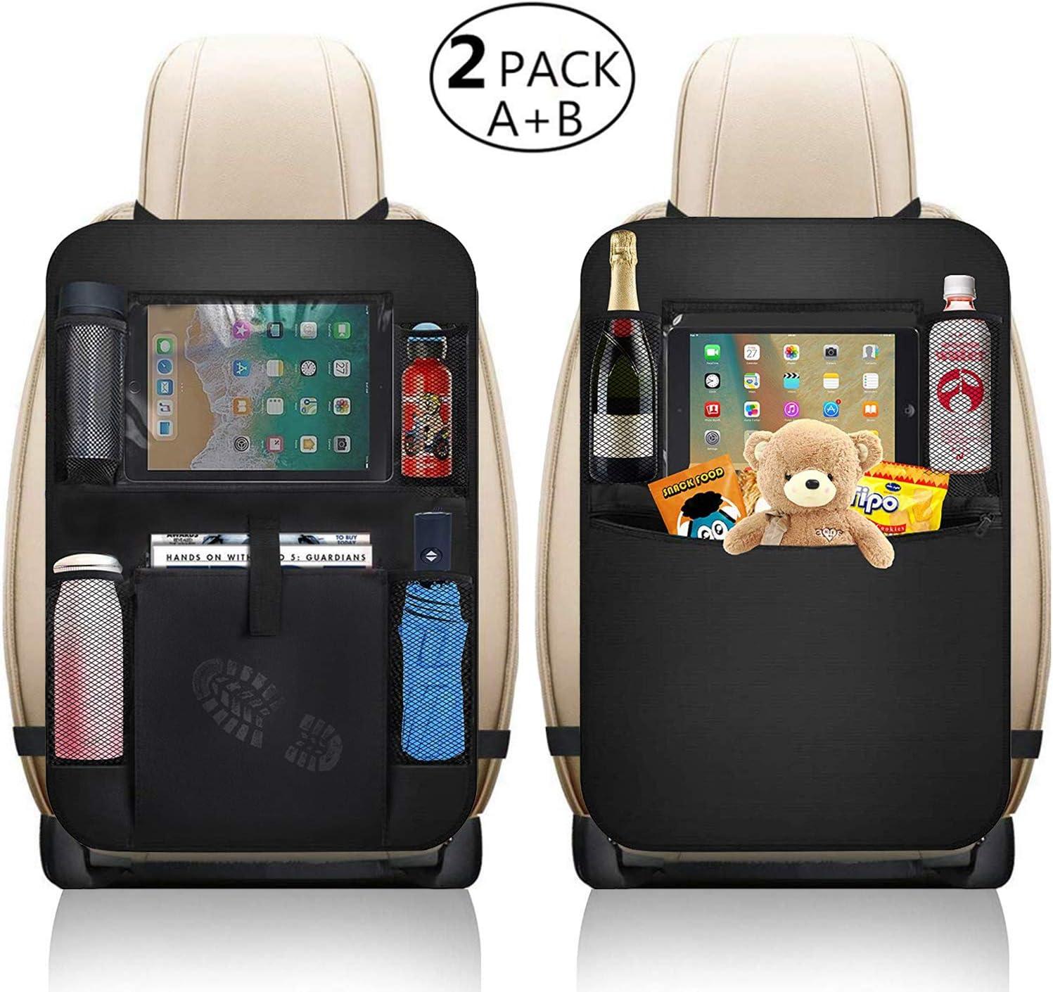 Car Seat Rear Kids Kick Protector Organizer Travel Vehicle SUV pockets black NEW