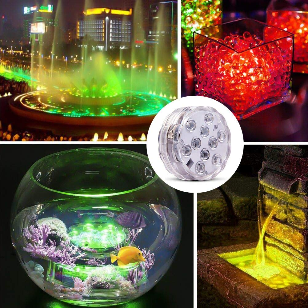 HOOFUN Submersible Light Battery Operated with Remote Control Aquarium Light Best Party Decor Lights for Tub,Pond,Fountain,Waterfall,Aquarium,Vase Base, 2pack