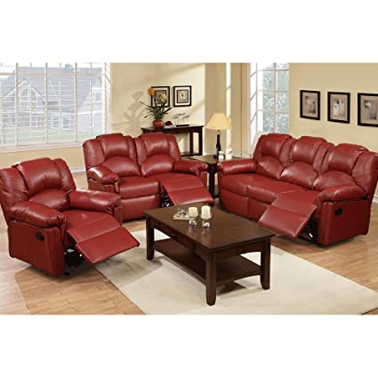 Amazon.com: 3Pcs Modern Burgundy Bonded Leather Sofa Loveseat Glider ...