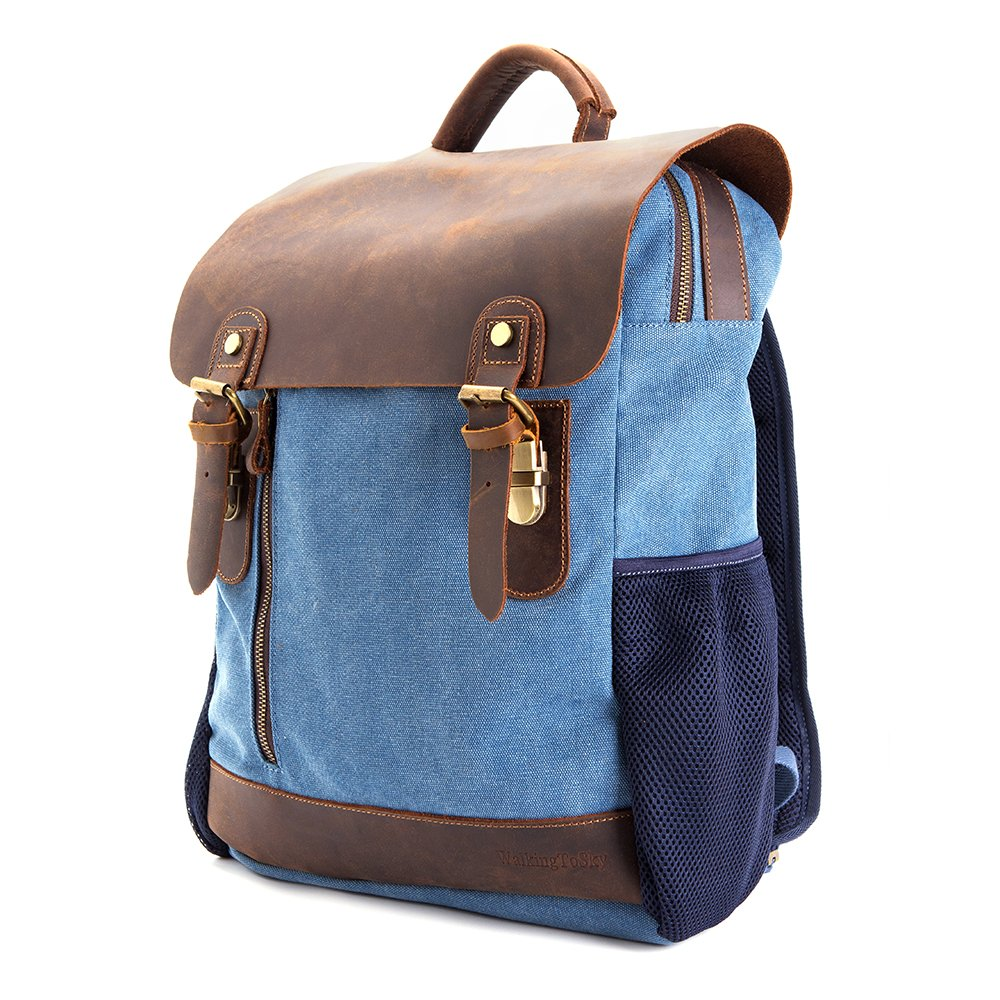 Vintage Leather Canvas Backpack - Retro Canvas School Rucksack Backpack up to 15.6 inch Laptop Bag