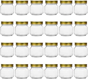 Tebery 24 Pack Mason Jars 8OZ With Regular Gold Lids Clear Glass Jars Ideal for Jam, Honey, Wedding Favors, Shower Favors, Baby Foods