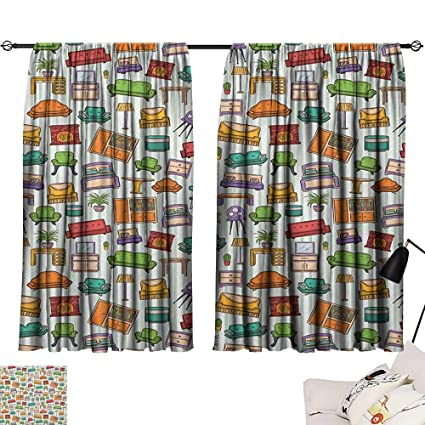 Amazon.com: Warm Family Doodle Blackout Curtains Various ...