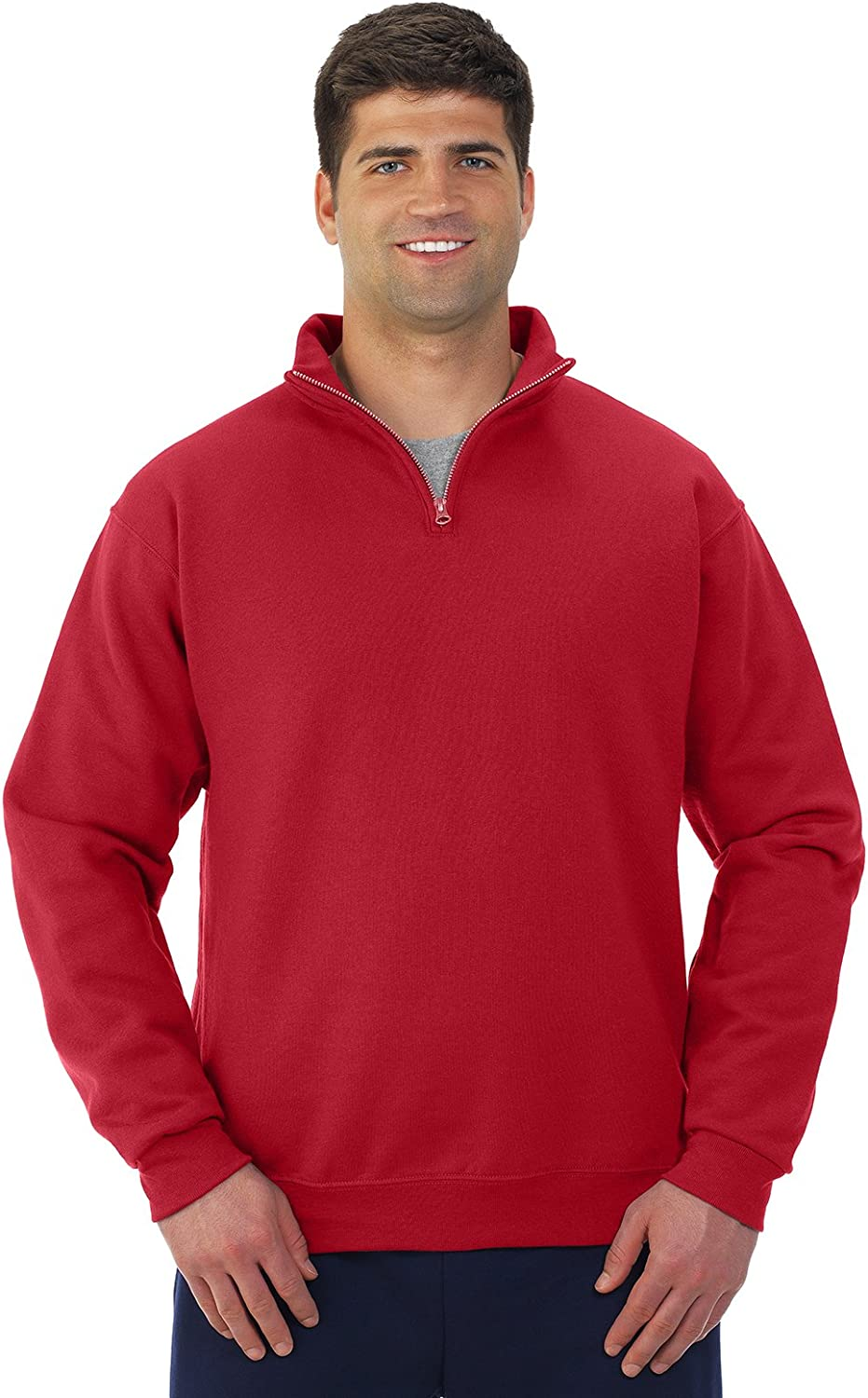 -TRUE RED-XL 995M 50//50 NuBlend Quarter-Zip Cadet Collar Sweatshirt Jerzees mens 8 oz
