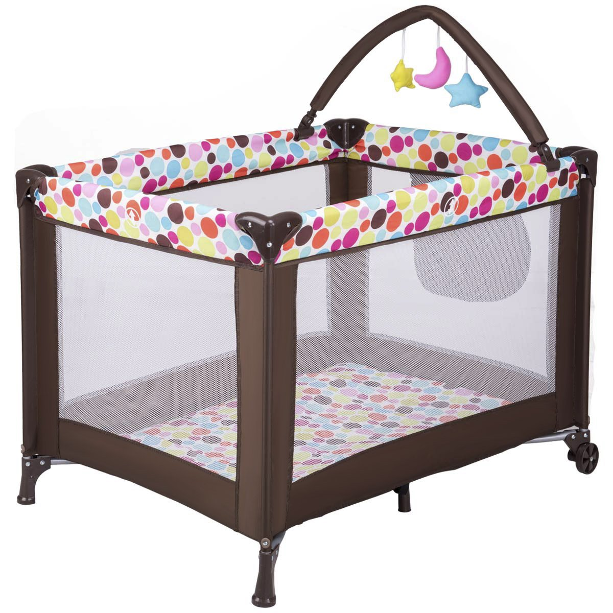 Costzon Play Playard Safety Bassinet for Baby On the Go, Portable and Foldable Play Yard w/Carry Bag