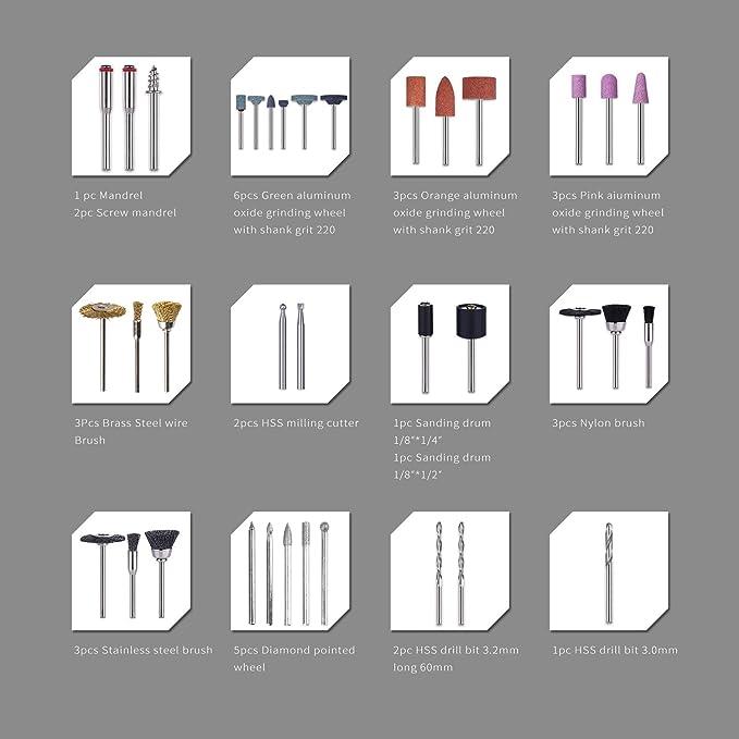 SPTA 242tlg Mehrzweck Zubeh/örset mit Holzkiste f/ür Dremel Proxxon Multifunktionswerkzeug Universal Zubeh/ör Schaft mit 3.2mm 242pcs