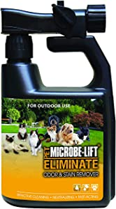 Outdoor Dog Cat Odor & Stain Remover Spray – Eliminate Poop Pee Smell & Clean Urine Markings on Artificial Grass, Astroturf, Deck, Lawn, Runs – Solution Cleans & Disinfects Naturally, Safely at Home