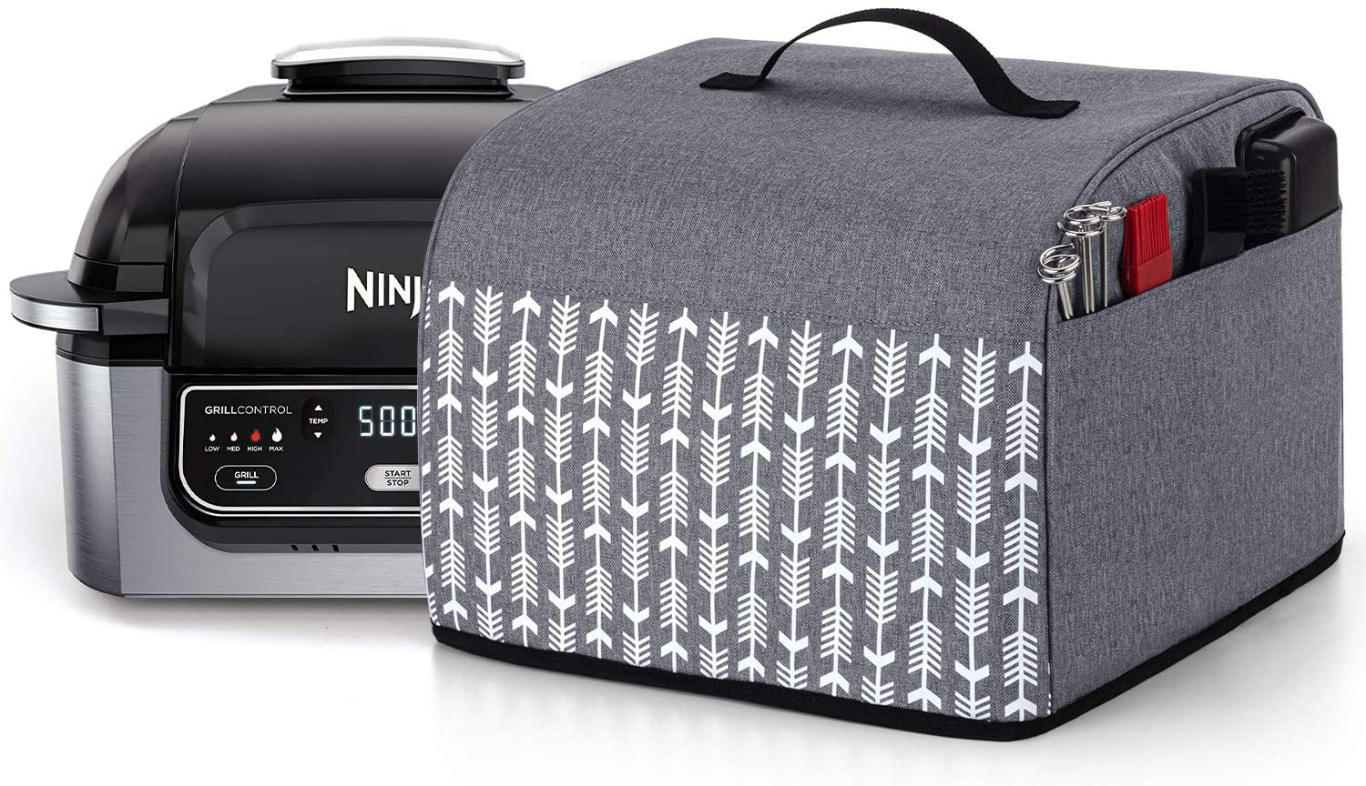 Yarwo Dust Cover with Pockets Compatible with Ninja Foodi Grill, Heavy Duty Nylon Cover with Wipe Clean Liner, Gray with Arrow