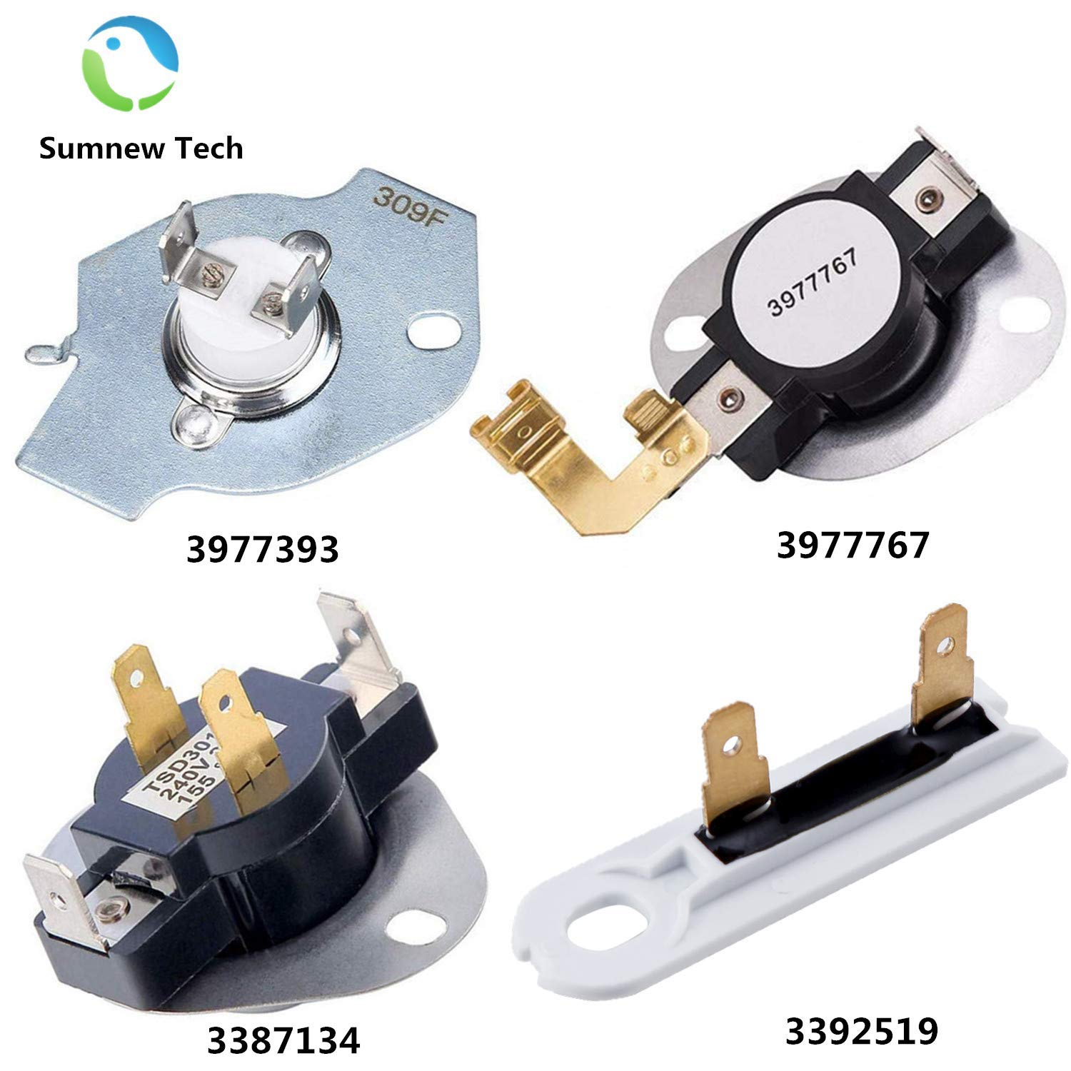 3387134 High-Limit Thermostat 3392519 Dryer Thermal Fuse 3977393 Thermal Cut-off Switch 3977767 Cycling Thermostat by Sumnew Tech Replacement For Whirlpool & Kenmore Clothes Dryers by Sumnew Tech