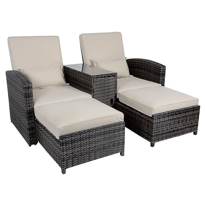 Antigua mimbre ratán reclinable tumbona compañero silla juego de muebles de jardín: Amazon.es: Jardín