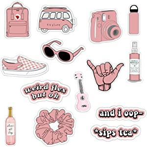 Vsco Girls Stickers for Water Bottles Big 14-Pack, Pink Waterproof Stickers for Hydro Flask,Laptop,Phone,Travel, Photo Sharing, Outdoor - Cute, Trendy, Aesthetic Vinyl Stickers for Teen Girls, Kids